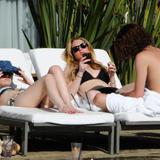 Lindsay Lohan in black bikini
